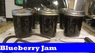 Making Blueberry Jam Preserves in Water Bath Canner