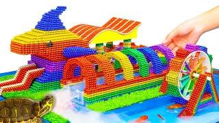 DIY - Build Inflatable Water Park Shark Water Slide From Magnetic Balls (Satisfying) - Magnet Balls