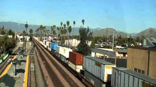 Union Pacific, BNSF and Metrolink trains through Riverside, California on the afternoon of 11 22 11