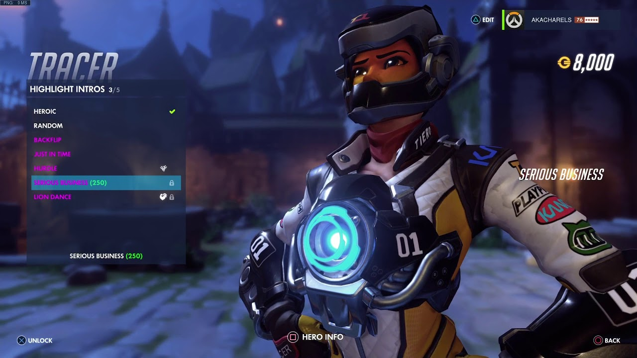 Overwatch: Tracer T. Racer Skin All Emotes, Poses, Intros U0026 Weapons + First  Person(Legendary)