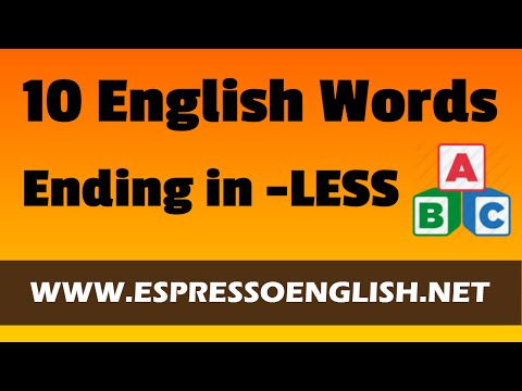 Learn English Vocabulary Words Ending in -LESS