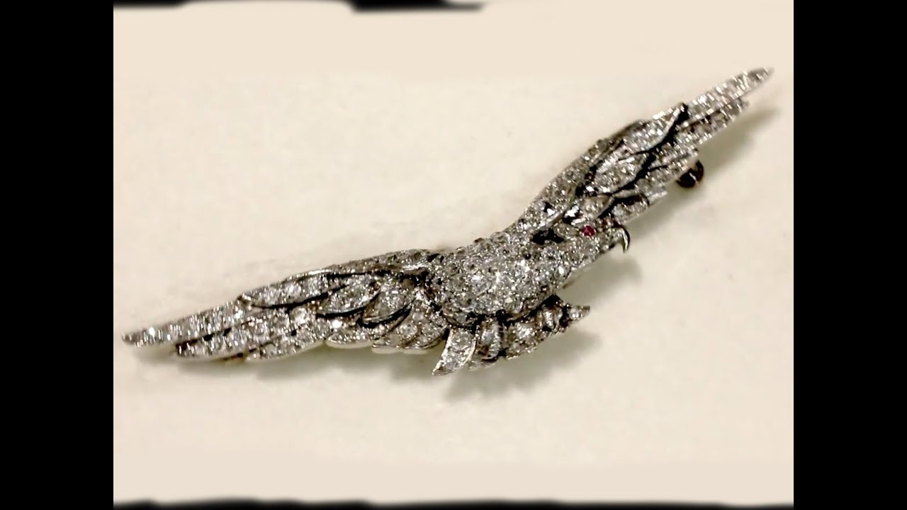 1 95 ct Diamond & Ruby, Platinum RAF Sweetheart Brooch - Circa 1939 - AC  Silver W9617