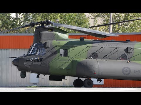 CH-147F (CH-47) Chinook Helicopter Engine Startup and Takeoff