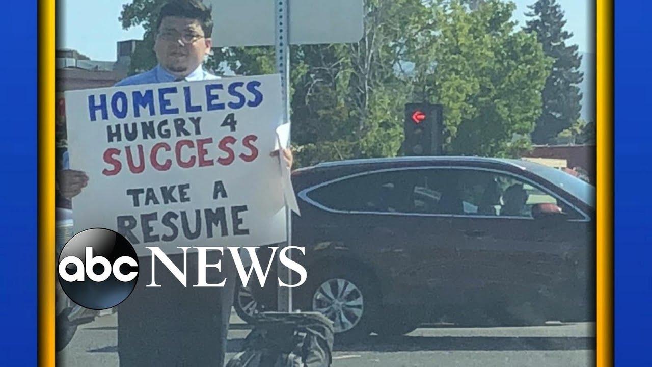 Homeless man receives hundreds of job interviews after tweet - YouTube