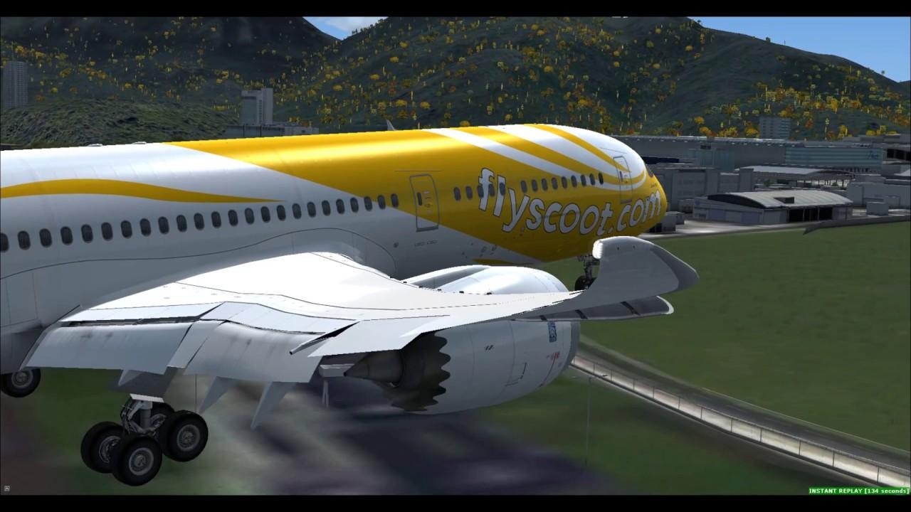 [FSX] | QualityWings 787-9 | Scoot TGW2062 | Singapore - Hong Kong (Landing)