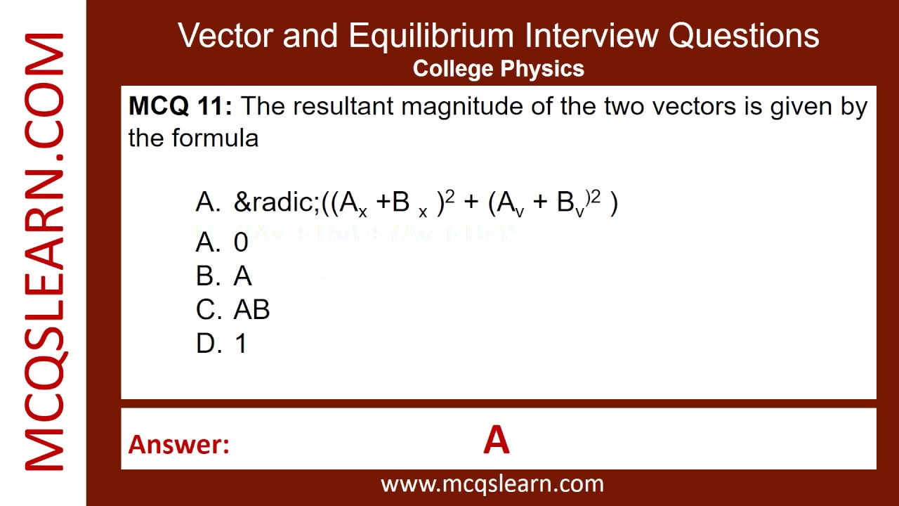 Vector and Equilibrium Interview Questions - MCQsLearn Free Videos