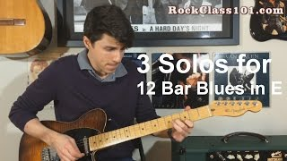 3 Solos for 12 Bar Blues in E - Beginner / Intermediate / Advanced