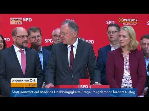 Martin Schulz und Stephan Weil zum Ergebnis der Landtagswahl in Niedersachsen am 16.10.17