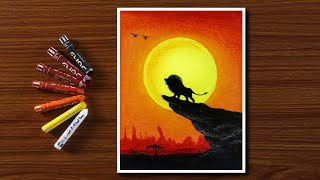 SIMBA The Lion King - Oil Pastels Drawing for Beginners - Step by Step