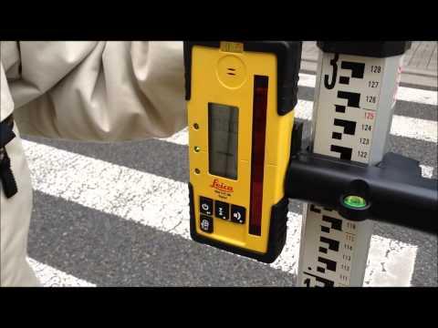 回転レーザー Rugby 620 : 道路横断面の高低差を数値確認