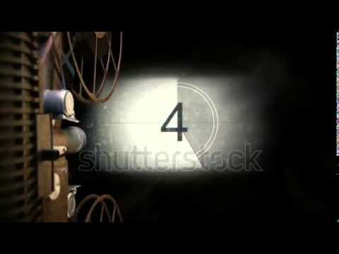 Vintage Film Projector Countdownwith Green Screen Transition High Detailed Render Full HD 25 Fps S