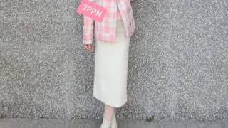 핑크 체크 자켓