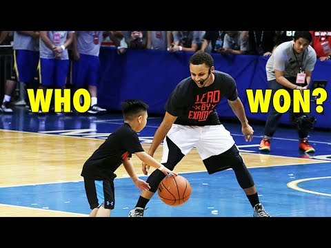 Stephen Curry vs. 7-year old boy (2015 Manila UA tour)