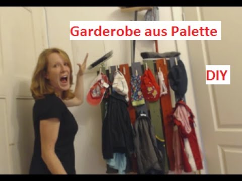palettenm bel diy garderobe aus palette youtube. Black Bedroom Furniture Sets. Home Design Ideas