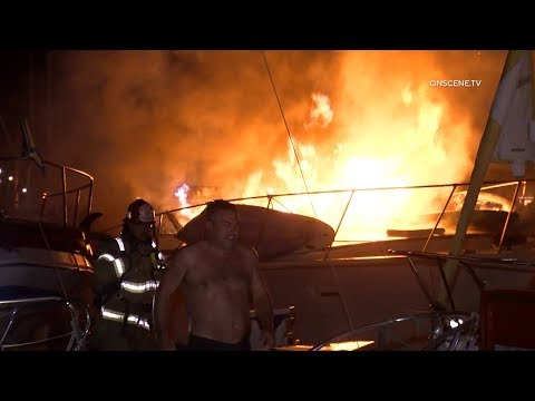 Docked Boat Consumed By Flames In Harbor In Ventura