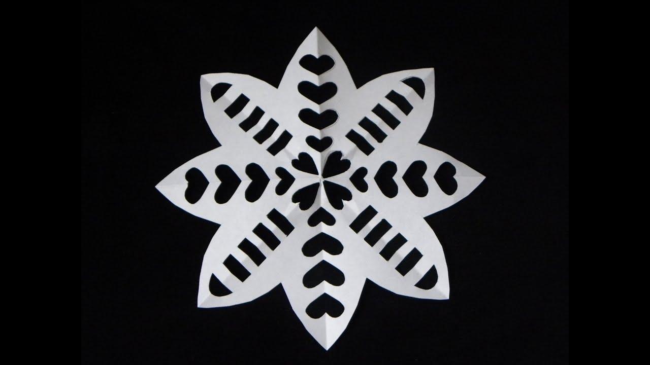 SNOWFLAKE EN FORMA DE FLOR CON CORAZONES. PAPER SNOWFLAKE. - YouTube