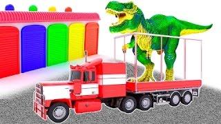 Aprender los colores con Dinosaurios y camiones en español para niños con musica | Animacion | 3D