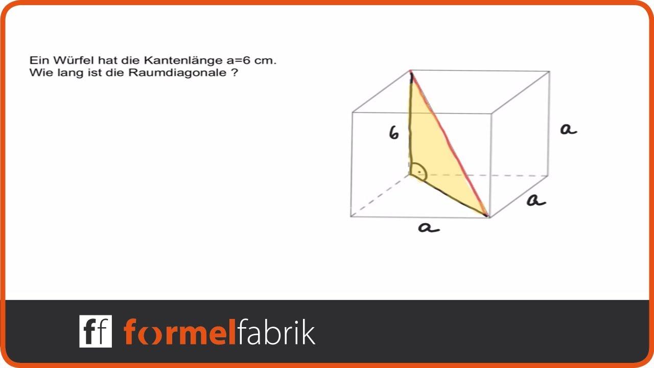 Pythagoras: Raumdiagonale beim Würfel - YouTube