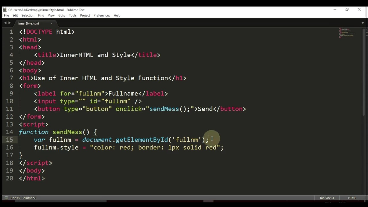 InnerHTML Style Function JS Topic 4.1 - YouTube