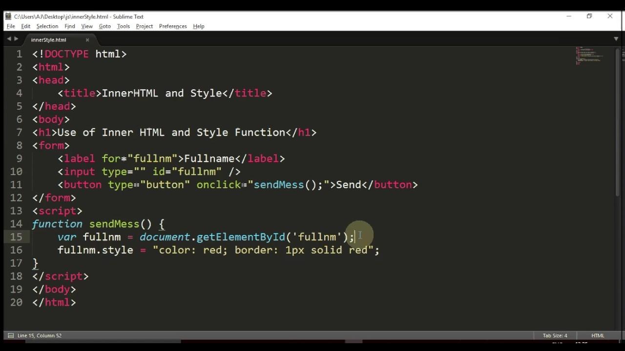 InnerHTML Style Function JS Topic 4 1 - YouTube