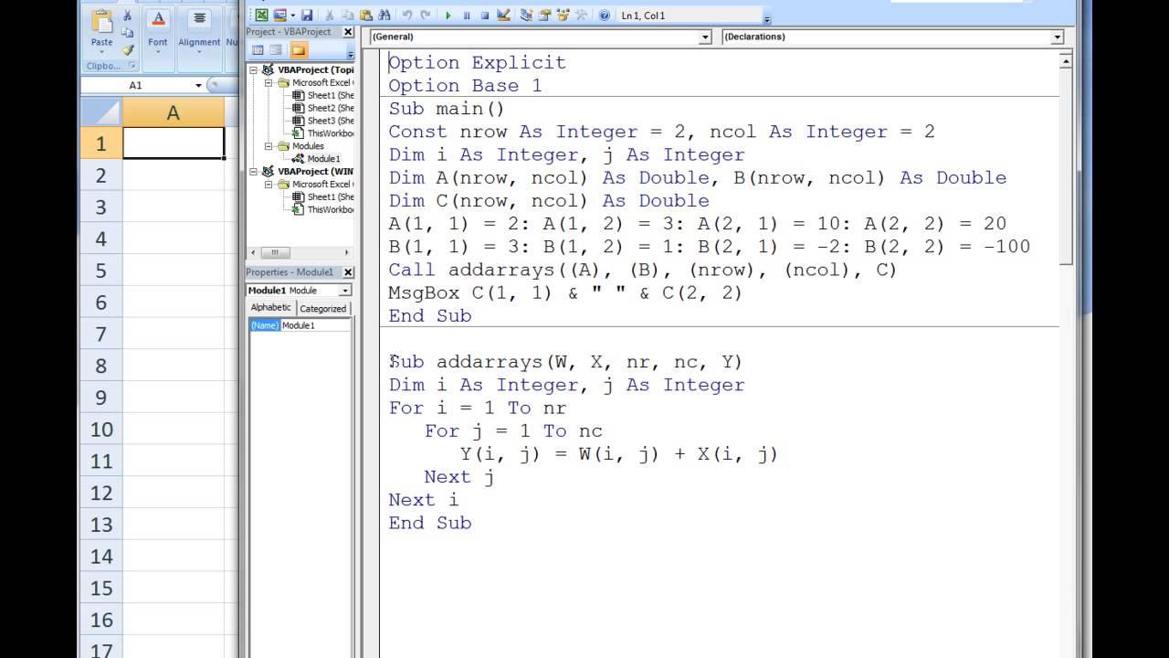Excel VBA Topic 9.3 - Passing Arrays to Procedures