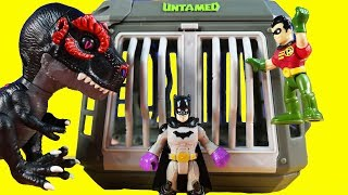 Imaginext Batman & Robin Get Untamed Jailbreak Playset T-Rex Toy ! Superhero Toys