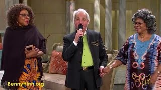 Benny Hinn with Pastor Chris' Mother and Sister