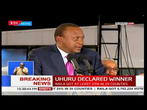 President Uhuru Kenyatta's message to Kenyans after he was announced as president
