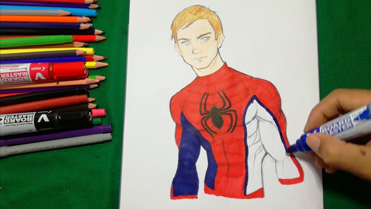 SPIDER-MAN PETER PARKER FACE Coloring Pages SAILANY