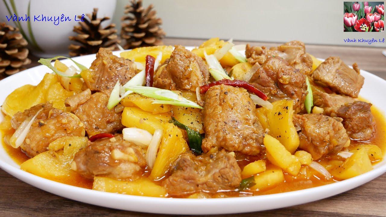 SƯỜN NON KHO THƠM – Cách nấu món Sườn Non Kho Dứa hay Sườn non Kho KHÓM thơm ngon by Vanh Khuyen