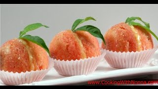Italian Peach Cookies with Cream and Alkermes  - Rossella&#39s Cooking with Nonna