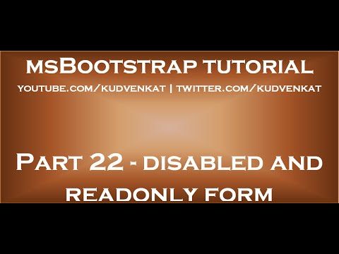 Bootstrap Disabled And Readonly Form Controls Youtube