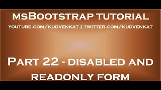 Bootstrap disabled and readonly form controls