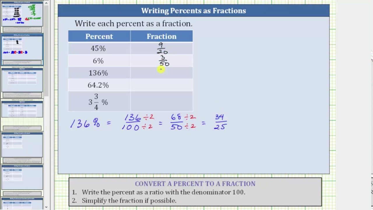 Convert Percentages To Fractions