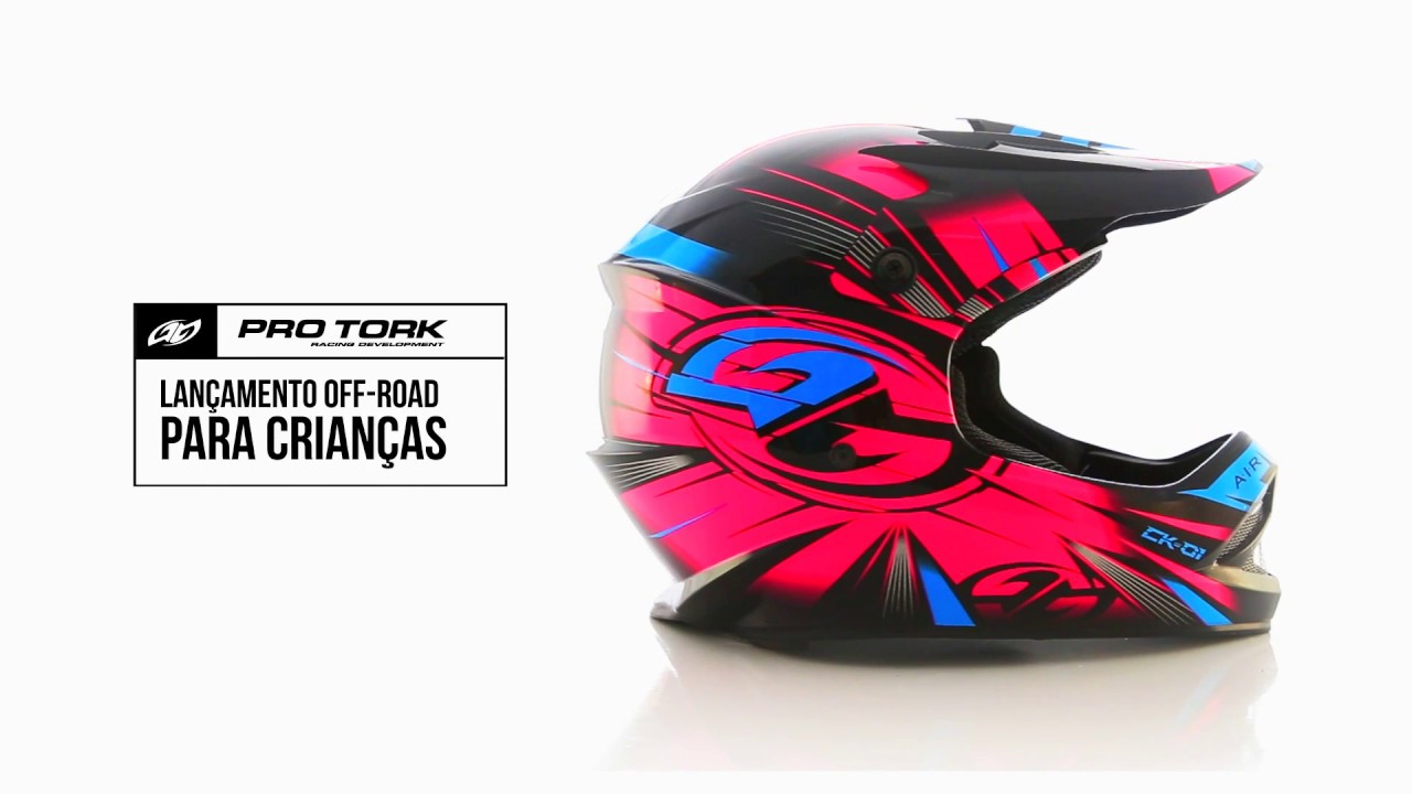 6fd4071f5d6c2 Capacete Cross Kids CK 01 - Pro Tork - YouTube