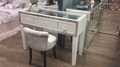 Madison White Glass & Mirrored Trim Clear Top 3 Drawer Dressing Table