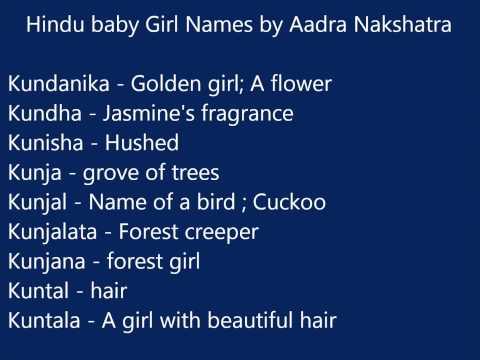 Hindu baby girl names according to Aadra nakshatra