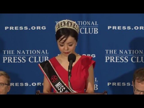 Miss World Canada Anastasia Lin speaks at The National Press Club