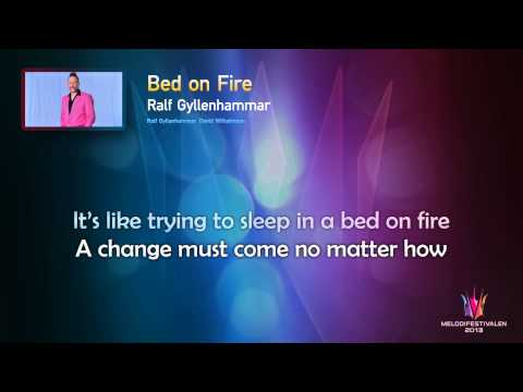 "Ralf Gyllenhammar ""Bed On Fire"" -- (On Screen Lyrics)"