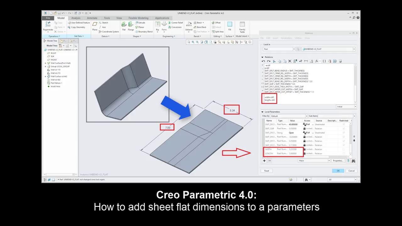 Creo Sheetmetal Tutorial How To Add Sheet Flat Dimensions To A