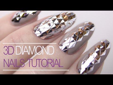 3D Diamond Nails | Gel Polish Nail Art Tutorial | Education For Beginner thumbnail