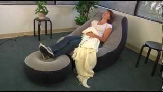 Intex One Person Inflatable Lounge Chair + Ottoman Grey