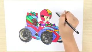 How to draw Paw patrol - Coloring for Kids: Ryder on the Car - Learn Colors for children