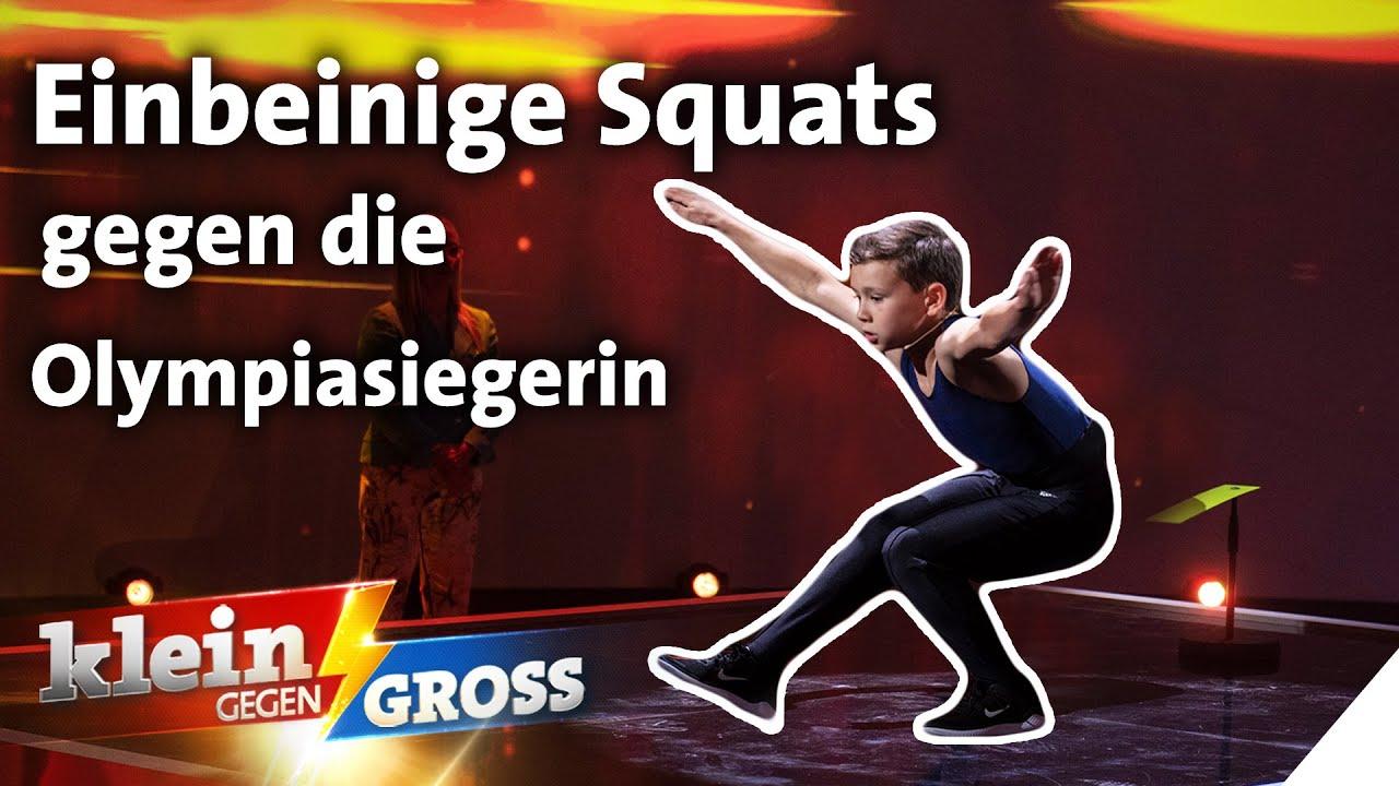 Squats-Challenge: Zwingt Elyas die Olympiasiegerin Laura Dahlmeier in die Knie? | Klein gegen Groß