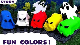 Learn Colors with Thomas & Friends spooky toy trains in Play-doh - Train toys for kids TT4U