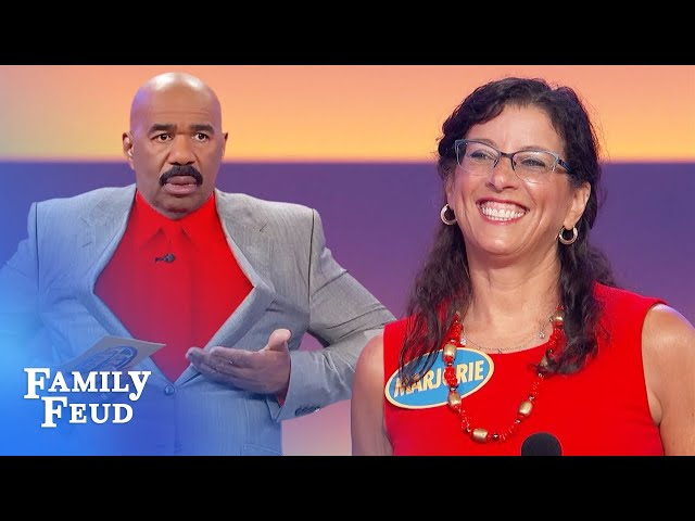 Marjorie's show-and-tell scares Steve Harvey! | Family Feud
