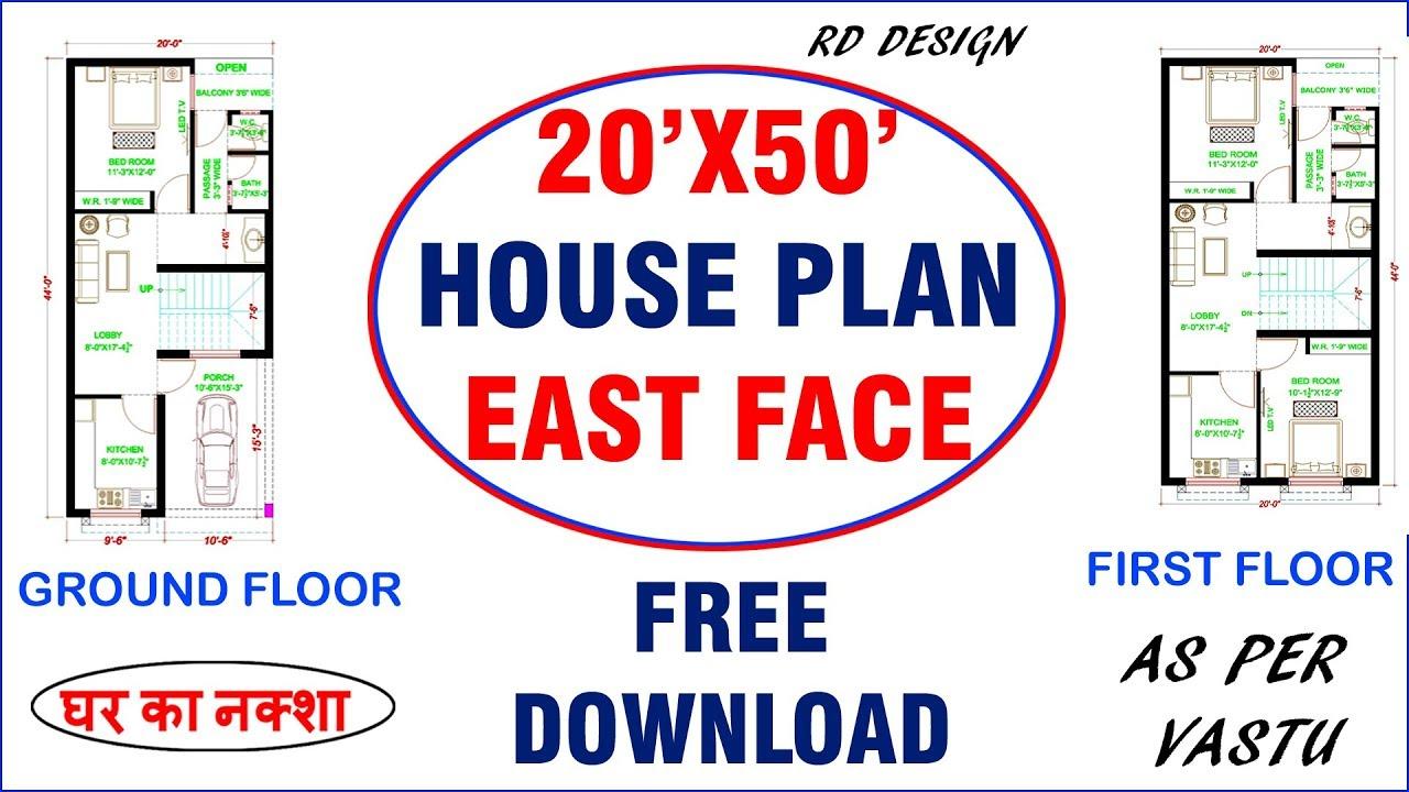 20 X 50 House Plan Design Double Floor East Face House Design Rd