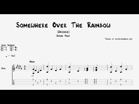Somewhere Over The Rainbow ukulele TAB - fingerstyle ukulele tab ...