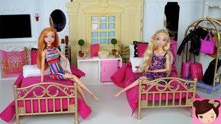 Barbie Evening Routine Princess Bedroom Frozen Queen Elsa & Anna - Doll Grand Hotel