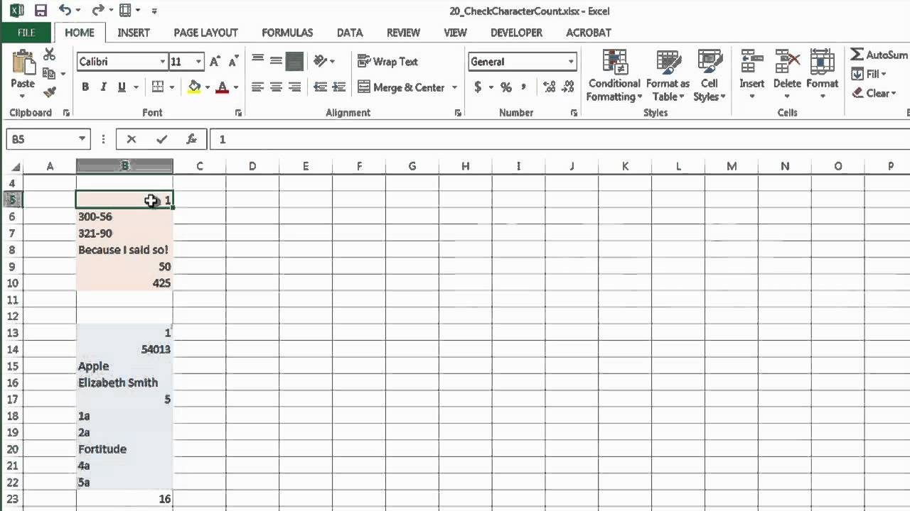How to Check Character Count in Excel : Microsoft Excel Help
